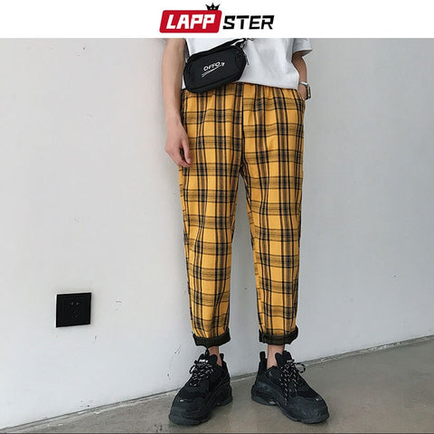 LAPPSTER Streetwear Yellow Man  Straight Harem Pants Korean Hip Hop Track Pants Plus Size - ZSHOPIT