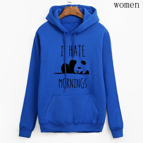 Fashion women long sleeve hoodies Panda I HATE MORNINGS sweatshirt - ZSHOPIT