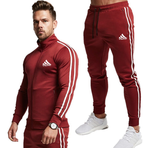 Men Fashion Striped Long Sleeve Hoodies+Pants Set Tracksuit Sport Suit Men's Gyms Set Casual Sportswear Suit - ZSHOPIT