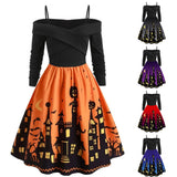 Women Pumpkin Party Print Dress Halloween - ZSHOPIT