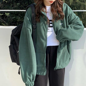 Women Hoodies Zip-up Collar Pocket Long Sleeve Korean Style Harajuku Womens Daily - ZSHOPIT
