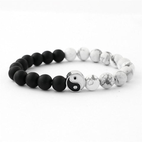 Bracelet Classic Natural Stone White and Black Wu wei Yin Yang Bracelets for Men Women - ZSHOPIT