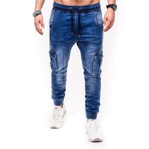 Men Jeans Casual Cotton Denim Trousers Multi Pocket Cargo - ZSHOPIT