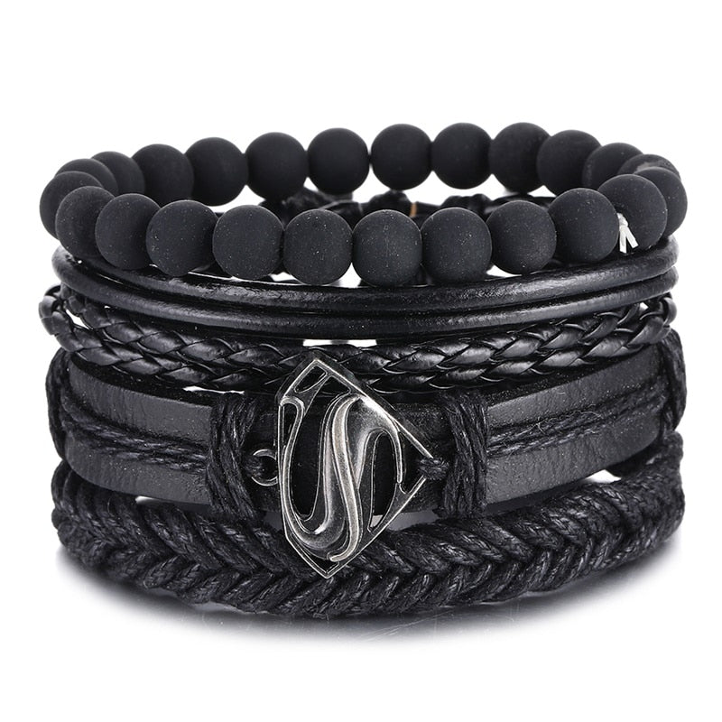 IFMIA Vintage Black Bead Bracelets For Men Fashion Leather Multilayer - ZSHOPIT