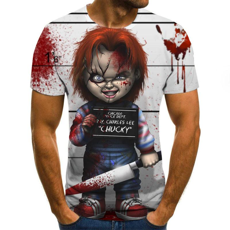 T shirts Fashion Men's Short Sleeve T-shirt Casual 3D Zombie Print Rock Tshirt - ZSHOPIT