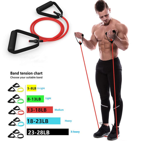 5 Levels Resistance Bands with Handles Yoga Pull Rope Elastic Fitness Exercise - ZSHOPIT