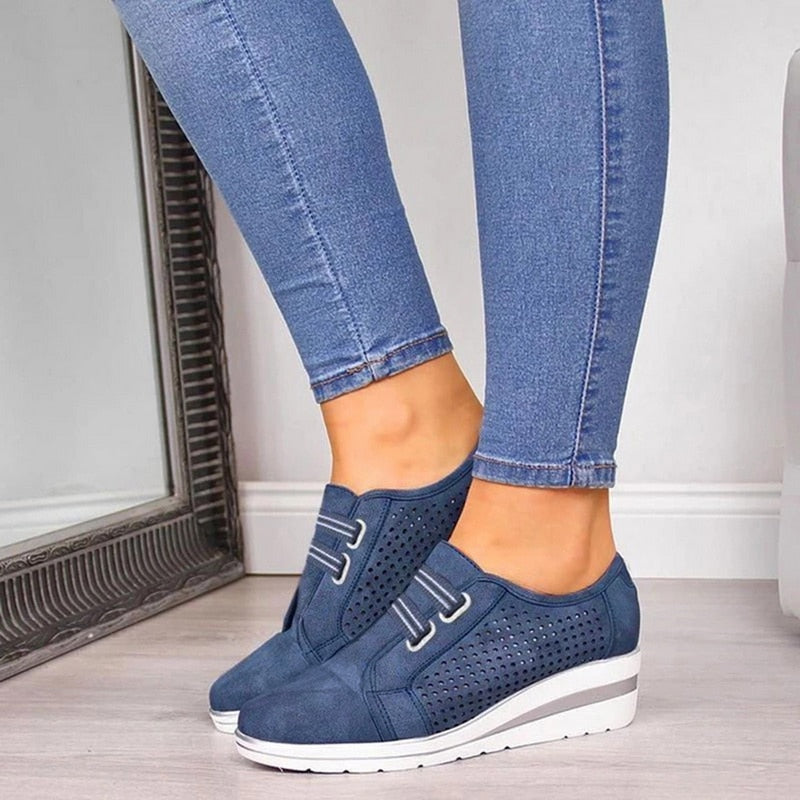 Flock New High Heel Women Sneakers Shoes Breathable & Comfortable - ZSHOPIT