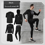 5 Set Men's Tracksuit Gym Fitness Compression Sports Suit - ZSHOPIT