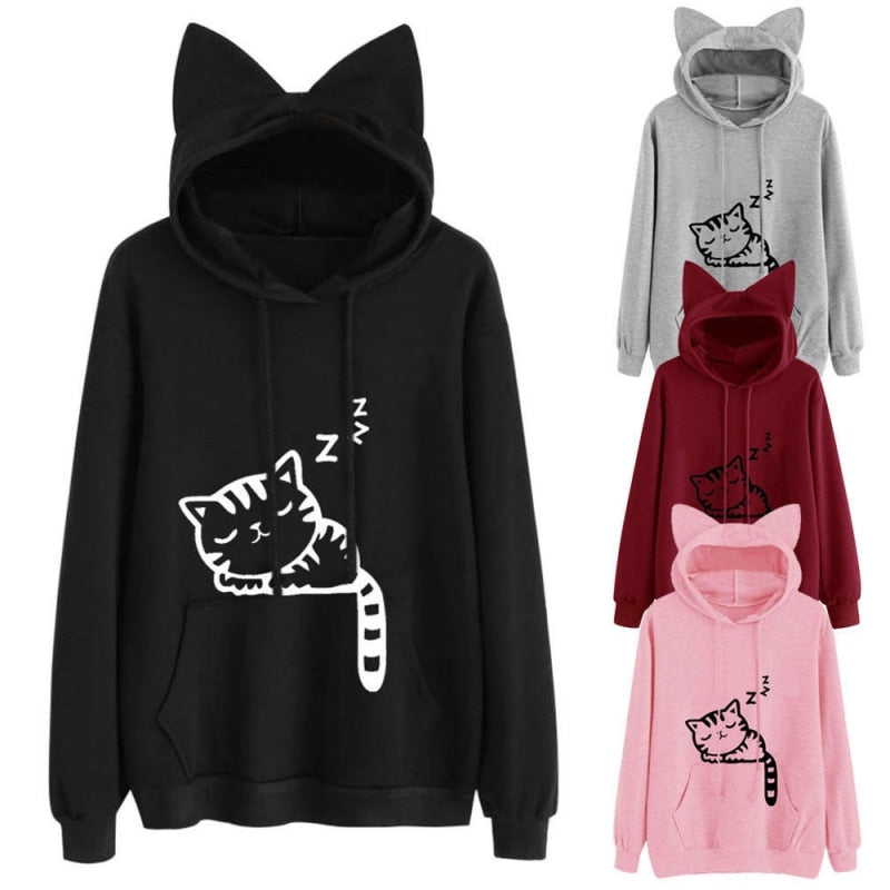 Fashion Womens Cat Printed Long Sleeve Hoodies Pullovers Autumn Winter Cat Ear Hooded Sweatshirts Tops - ZSHOPIT