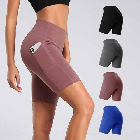 Women Gym Shorts Cycling Sports Leggings + Phone Pocket Jogging Running Fitness Yoga Pant - ZSHOPIT