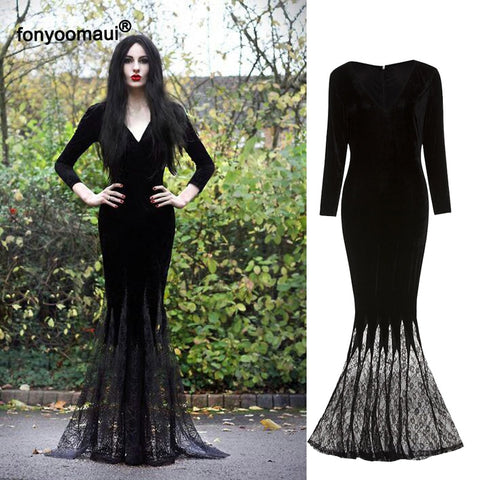 Gothic Halloween Morticia Addams Ghost Witch Costume Robe Dress for Women - ZSHOPIT