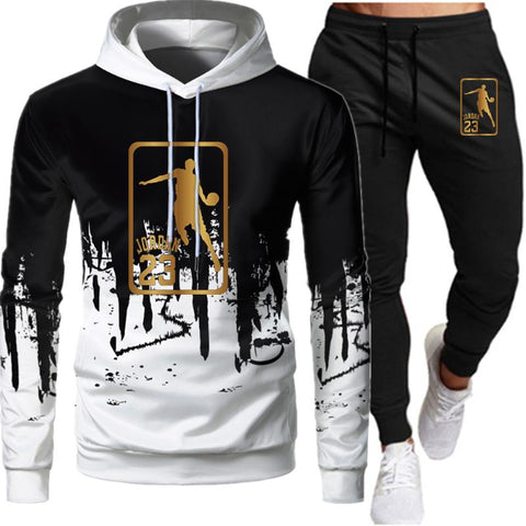 White Black Men Hoodies Set Fashion Tracksuit Sports - ZSHOPIT