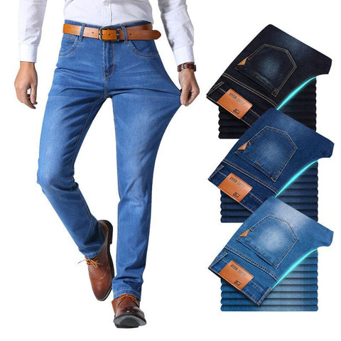 Brother Wang Classic style Men Jeans - Stretch Slim Pants Light Blue Black - ZSHOPIT
