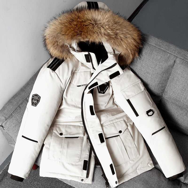 White Jacket Winter Men Korean Safari Thick Overcoat  High Quality - ZSHOPIT