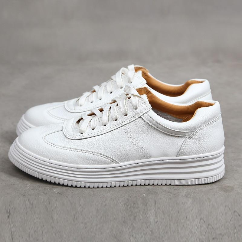 Fashion White Split Leather Chunky Sneakers for  Women - ZSHOPIT