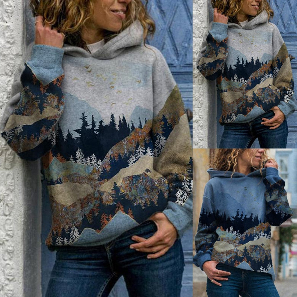 Aesthetic Hoodies Women Plus Size Mountain Printed Pullover - ZSHOPIT