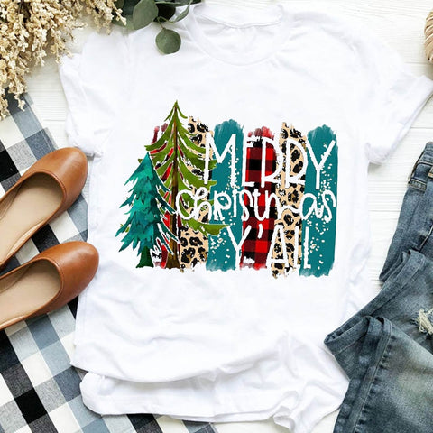 Women Merry Christmas Tshirt Female Top Graphic Clothes Shirt Tee - ZSHOPIT
