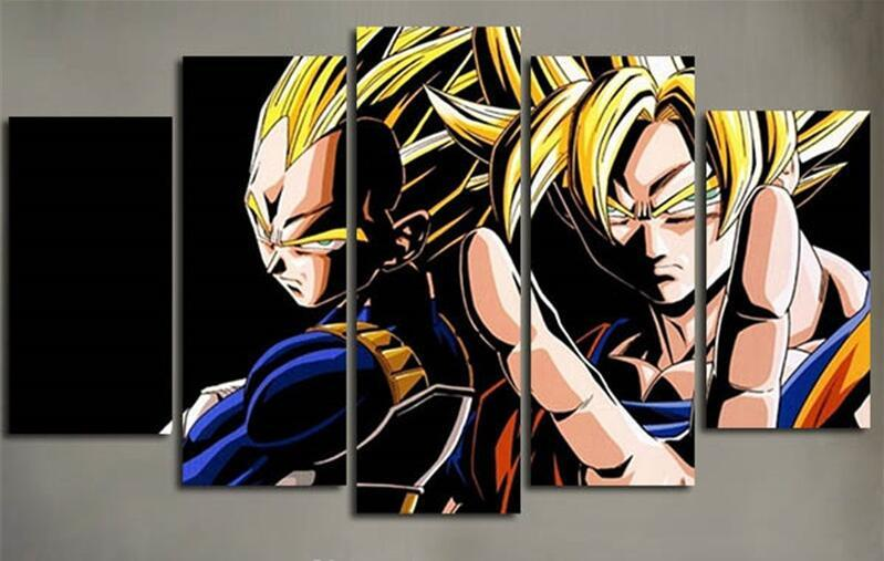 5 Pieces Dragon Ball Anime Posters Modern Home Wall Decor Art HD For Living Room - ZSHOPIT