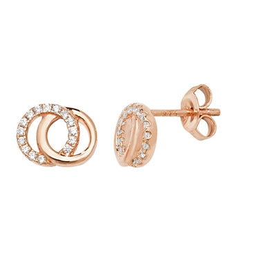 Interlocking Circle Earrings Rose Gold
