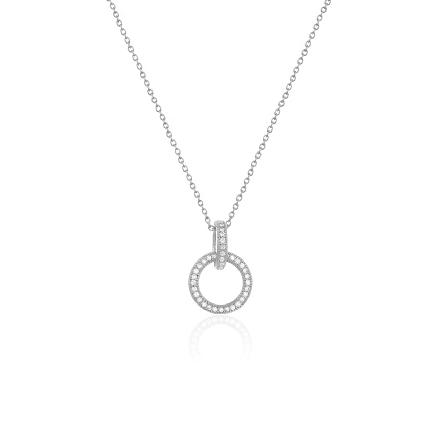 Pave Halo Drop Necklace