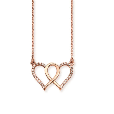 Romantic Interlocking Rose Gold Hearts
