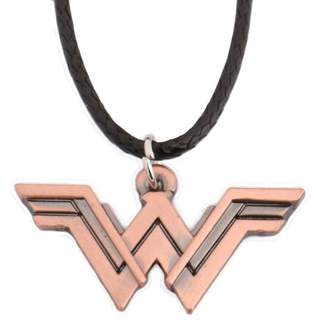 DC Wonder Woman Logo Pendant Necklace with Leather Cord - DCMarvel.Store