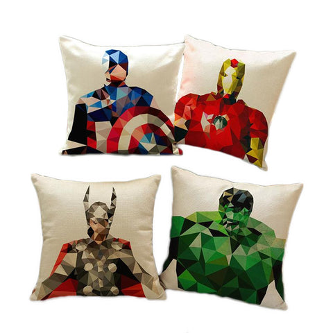 DC Marvel Superheroes Geometrics Art Linen Throw Pillow Cover - DCMarvel Store