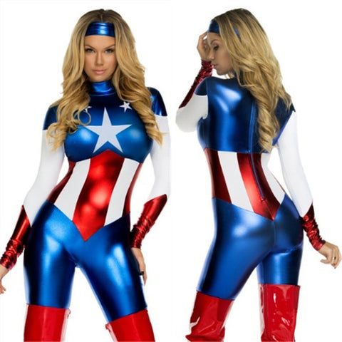 Captain America Cosplay Costume For Women - DCMarvel.Store