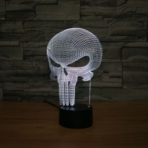 Punisher Skull 3D LED Light 7 colors Unique Decor - DCMarvel Store