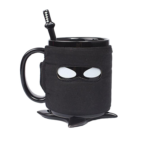 Super Cool Ninja Mug with Spoon Sword and Shuriken Coaster - DCMarvel Store