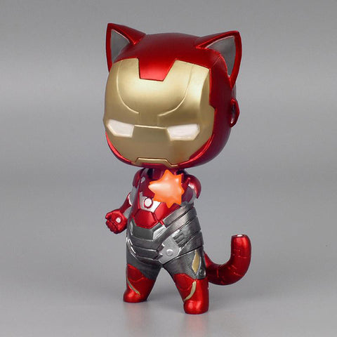 Spider-Man vs Iron Man Anime Cat Version Action Figures 8cm - DCMarvel.Store