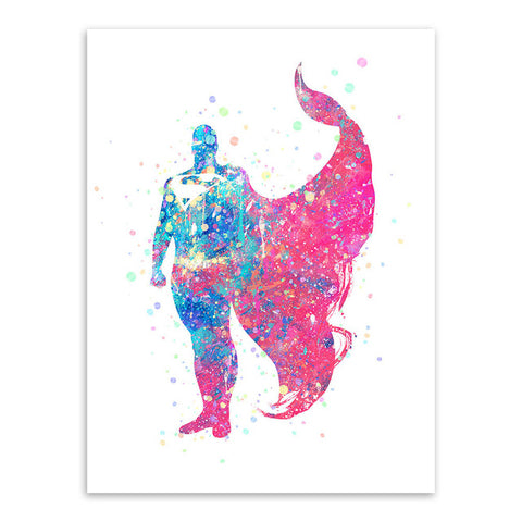 Superhero Watercolor Canvas Art Poster For Home Decor - DCMarvel.Store