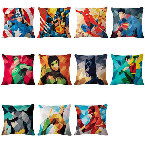 DC Marvel Superhero Geometrics Art Linen Pillow Cover - DCMarvel.Store