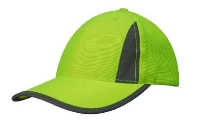 Headwear-Headwear Luminescent Safety Cap with Reflective Inserts and Trim-Green/Silver / Free Size-Uniform Wholesalers - 2