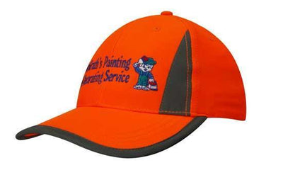 Headwear-Headwear Luminescent Safety Cap with Reflective Inserts and Trim-Orange/Silver / Free Size-Uniform Wholesalers - 1