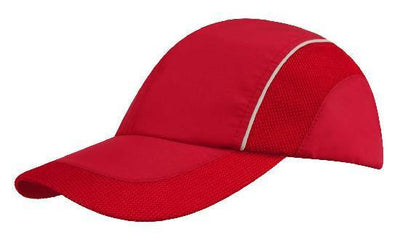 Headwear-Headwear Spring Woven Fabric with Mesh to Side Panels and Peak-Red/White / Free Size-Uniform Wholesalers - 5