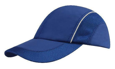 Headwear-Headwear Spring Woven Fabric with Mesh to Side Panels and Peak-Royal/White / Free Size-Uniform Wholesalers - 6