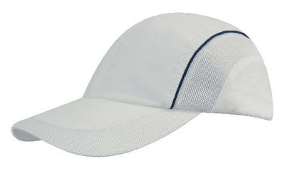 Headwear-Headwear Spring Woven Fabric with Mesh to Side Panels and Peak-White/Navy / Free Size-Uniform Wholesalers - 4
