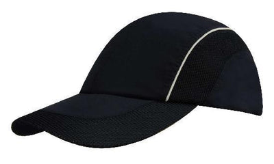 Headwear-Headwear Spring Woven Fabric with Mesh to Side Panels and Peak-Navy/White / Free Size-Uniform Wholesalers - 2