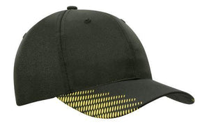Headwear-Headwear Breathable Poly Twill with Peak Flash Print-Black/Gold / Free Size-Uniform Wholesalers - 4