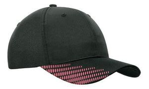 Headwear-Headwear Breathable Poly Twill with Peak Flash Print-Black/Pink / Free Size-Uniform Wholesalers - 8