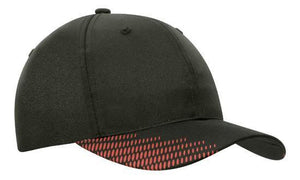 Headwear-Headwear Breathable Poly Twill with Peak Flash Print-Black/Red / Free Size-Uniform Wholesalers - 3