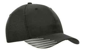 Headwear-Headwear Breathable Poly Twill with Peak Flash Print-Black/White / Free Size-Uniform Wholesalers - 2
