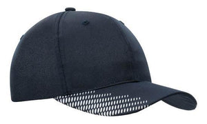 Headwear-Headwear Breathable Poly Twill with Peak Flash Print-Navy/White / Free Size-Uniform Wholesalers - 9