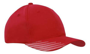 Headwear-Headwear Breathable Poly Twill with Peak Flash Print-Red/White / Free Size-Uniform Wholesalers - 11