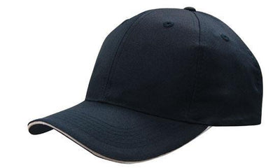 Headwear-Headwear Breathable Poly Twill with Sandwich Trim Cap-Navy/White / Free Size-Uniform Wholesalers - 5