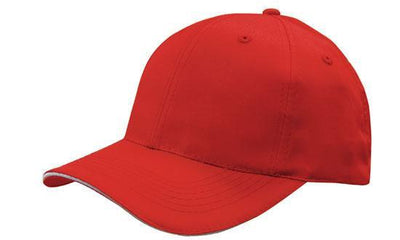 Headwear-Headwear Breathable Poly Twill with Sandwich Trim Cap-Red/White / Free Size-Uniform Wholesalers - 6
