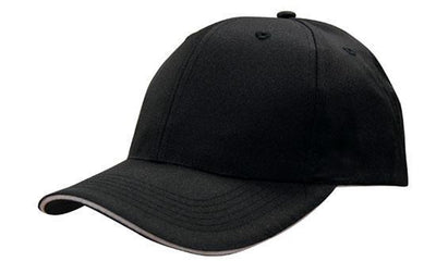Headwear-Headwear Breathable Poly Twill with Sandwich Trim Cap-Black/White / Free Size-Uniform Wholesalers - 4