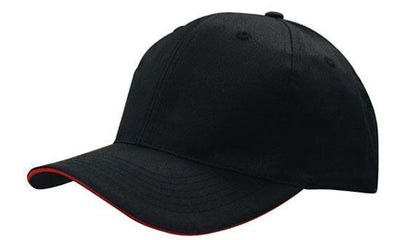 Headwear-Headwear Breathable Poly Twill with Sandwich Trim Cap-Black/Red / Free Size-Uniform Wholesalers - 3