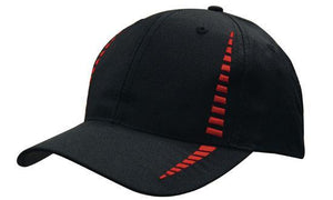 Headwear-Headwear Breathable Poly Twill with Small Check Patterning Cap-Black/Red / Free Size-Uniform Wholesalers - 3